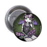 Ally Emo Tattoo Pink Plaid Fairy 2 Inch Round Button