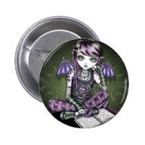 myka, jelina, ally, emo, goth, gothic, cute, tattoo, plaid, pink, purple, green, ipod, mp3, book, adorable, fairy, faerie, fairies, fae, art, Button with custom graphic design
