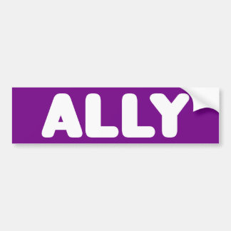 Ally LGBTQ Straight Ally Spirit Day White & Purple Bumper Sticker