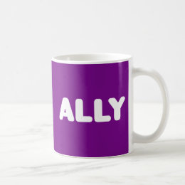 Ally LGBTQ Straight Ally Spirit Day White & Purple Coffee Mug