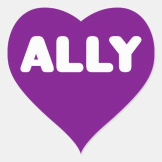 Ally LGBTQ Straight Ally Spirit Day White & Purple Heart Sticker