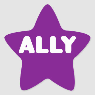 Ally LGBTQ Straight Ally Spirit Day White & Purple Star Sticker