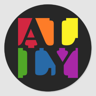 Ally Pop Round Black Sticker