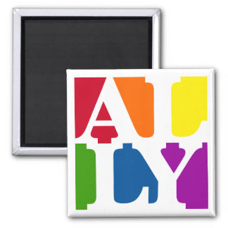 Ally Pop Square White Magnet
