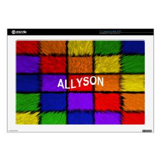 """ALLYSON ( female names ) Decals For 17"""" Laptops"""