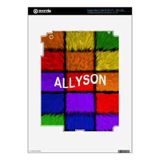 ALLYSON ( female names ) Decals For iPad 3
