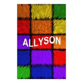 ALLYSON ( female names ) Stationery