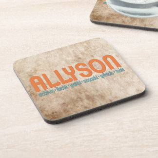 { Allyson } Name Meaning Coaster Set