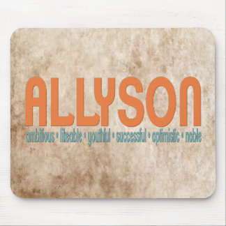 { Allyson } Name Meaning Mousepad