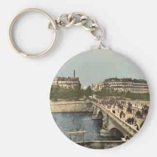 Alma bridge, Paris, France classic Photochrom Basic Round Button Keychain