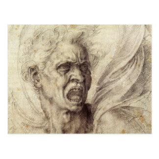 Alma maldecida de Miguel Ángel, arte renacentista Postal