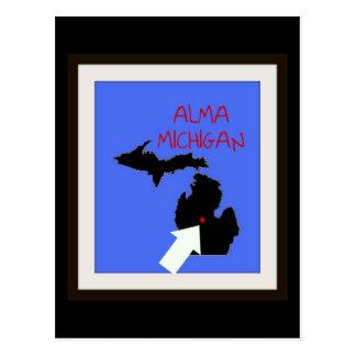 Alma Michigan Map Postcard