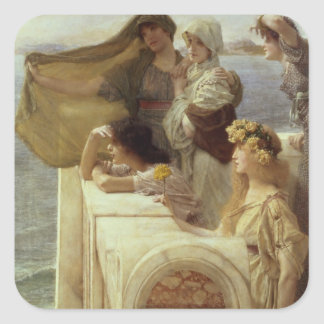Alma-Tadema | At Aphrodite's Cradle, 1908 Square Sticker