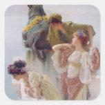 Alma-Tadema el | una esquina de ventajoso, 1895 Pegatina Cuadrada