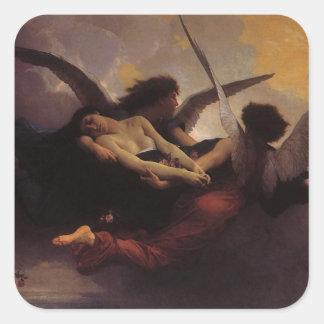 Alma traída al cielo por Bouguereau, arte del Calcomanías Cuadradass Personalizadas