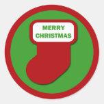 Almacenamiento de las Felices Navidad Pegatina Redonda