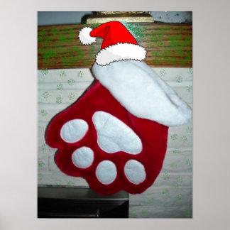 Almacenamiento del navidad de la pata del mascota póster