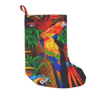 Almacenamiento del navidad del diseño del loro calcetín navideño pequeño