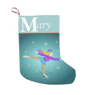 Almacenamiento del navidad del patinador de hielo calcetín de navidad pequeño