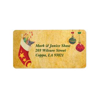 Almacenamiento del navidad etiquetas de dirección
