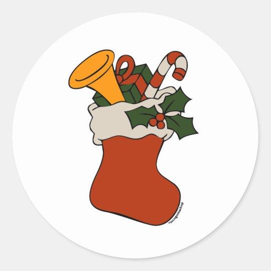 Almacenamiento del navidad pegatina redonda