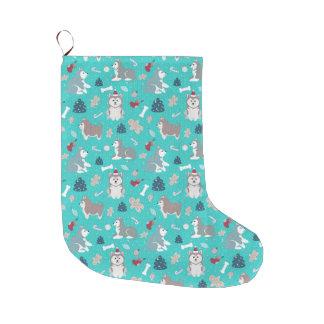 Almacenamiento fornido azul claro del navidad del calcetín de navidad grande