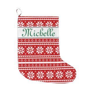 Almacenamiento nórdico conocido personalizado del calcetín de navidad grande