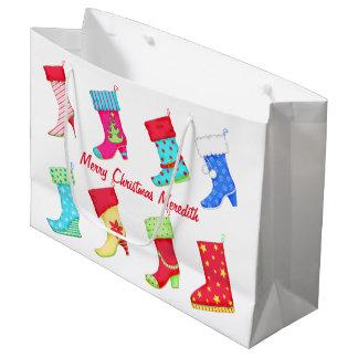 Almacenamiento personalizado nombre del navidad bolsa de regalo grande