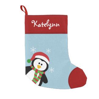 Almacenamiento personalizado pingüino lindo del calcetín navideño pequeño