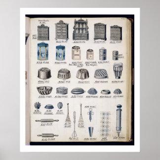 Almacenamiento y utensilios de la cocina de un cat póster