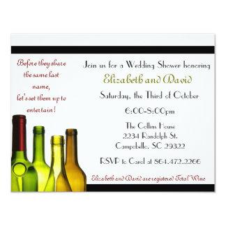 Almacene la ducha de la barra, botella de vino invitaciones personalizada