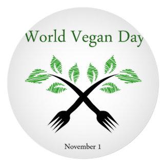 """Almácigo bifurcación mundo vegano día del 1 de invitación 5.25"""" x 5.25"""""""