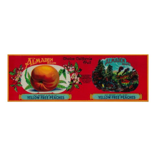Almaden Peach Label Posters