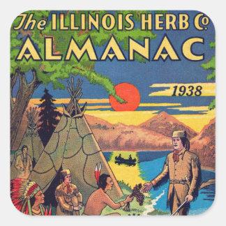 Almanaque Retro Vintage Kitsch Illinois Herb Pegatina Cuadrada