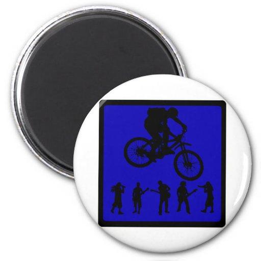 Almas del azul de la bici imán redondo 5 cm