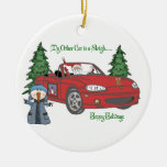 ALMC-Santa's Sleigh-Red Christmas Tree Ornament