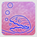 Almeja linda Shell bajo púrpura azul del mar Calcomania Cuadrada Personalizada