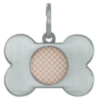 Almendra tostada y marroquí blanco Patte de Placa Mascota
