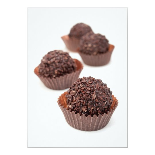 """Almendras garapiñadas del chocolate invitación 5"""" x 7"""""""