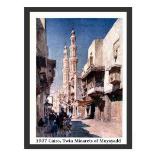 Alminares gemelos 1900 de El Cairo Egipto del Tarjetas Postales
