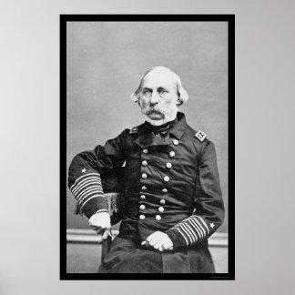 Almirante Charles Davis 1862 de la marina de guerr Póster