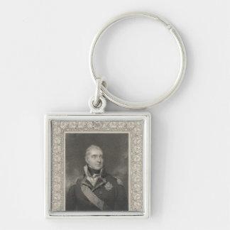 Almirante sir Edward Pellew, c.1810 Llavero Cuadrado Plateado