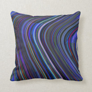 Almohada abstracta rayada multi azul