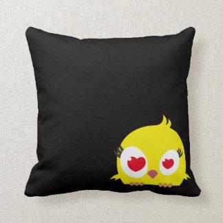 Almohada amarilla de encargo retra del búho
