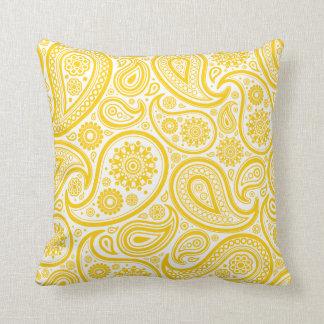 Almohada amarilla del estampado de flores de Paisl