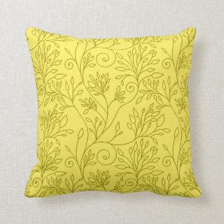 Almohada amarilla floral elegante cojín decorativo