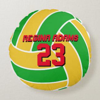 Almohada amarilla verde del Brasil del equipo de Cojín Redondo