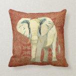 Almohada ambarina del damasco del elefante blanco