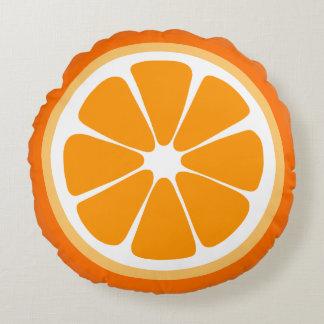 Almohada anaranjada de la comida de la rebanada cojín redondo