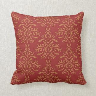 Almohada anaranjada roja reversible del damasco fr
